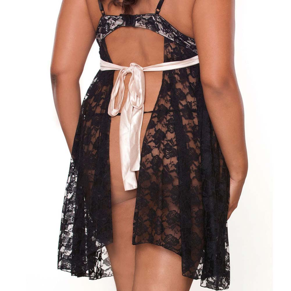 Nude Affair Tieback Lacey Babydoll and Panty Plus 2X Black - View #4
