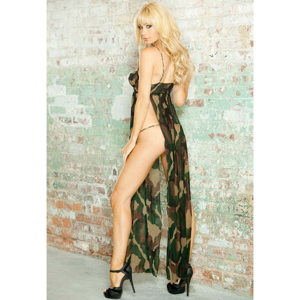 Bullet Proof Split Side Long Gown and G-String Set Small Camo - View #2