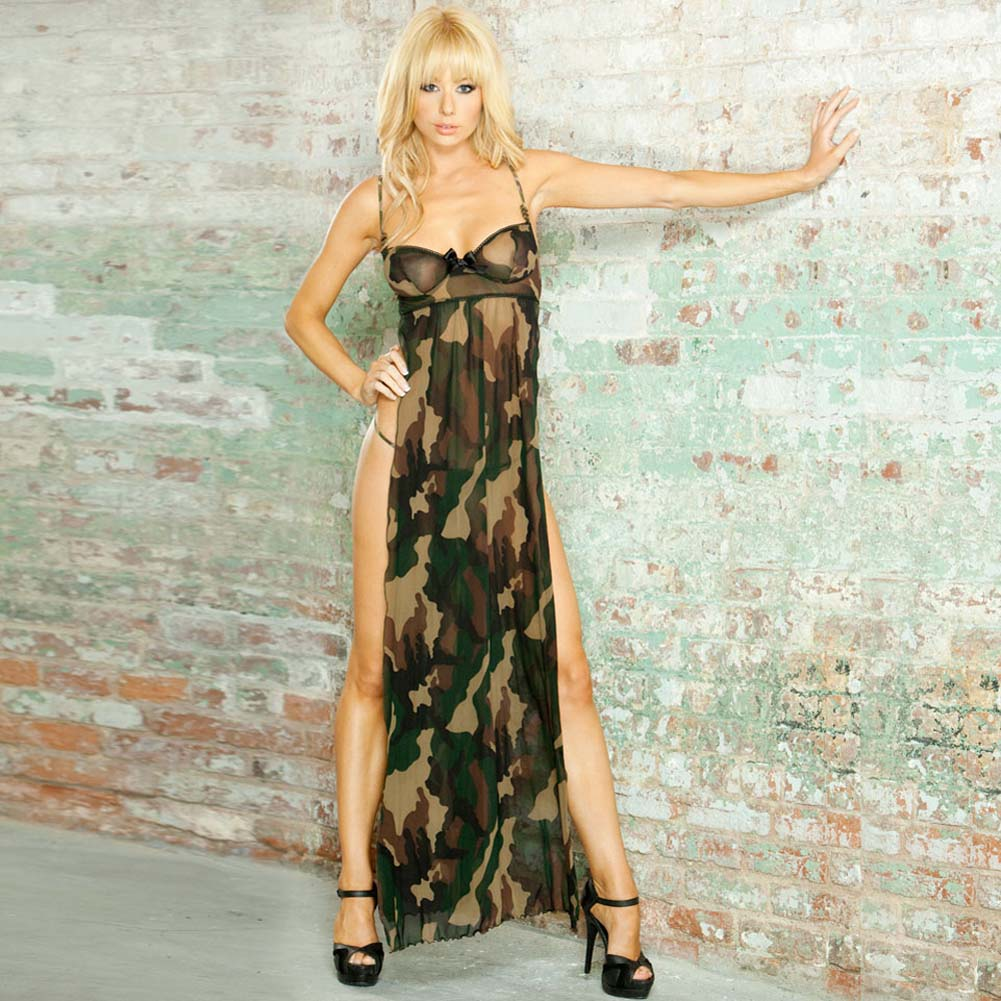 Bullet Proof Split Side Long Gown and G-String Medium Camo - View #1