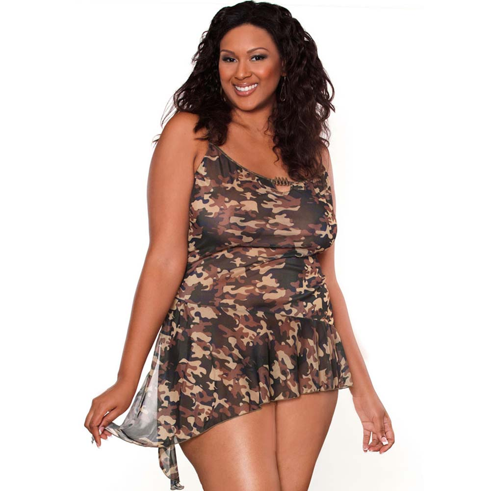 Bullet Proof Asymmetrical Babydoll with Panty 1X Camo - View #1