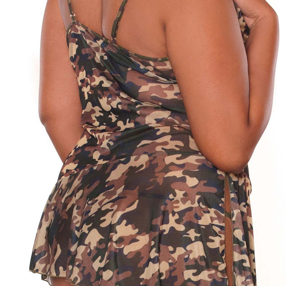 Bullet Proof Asymmetrical Babydoll with Panty 3X Camo - View #4
