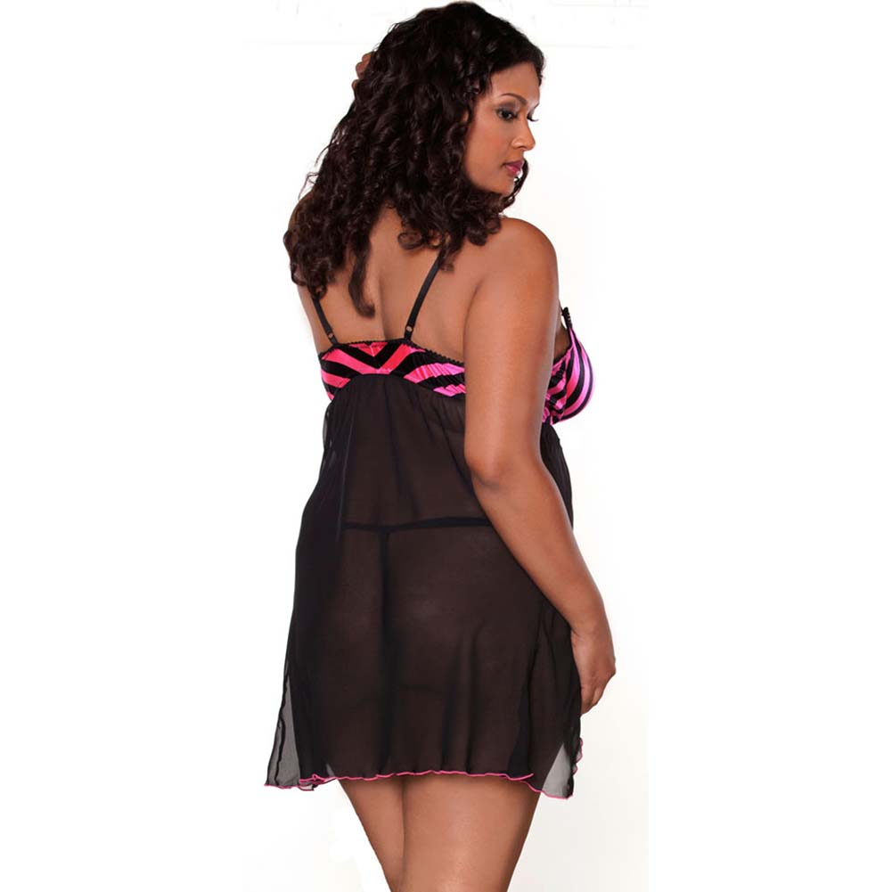 Split Front Babydoll and Double Strap G-String Plus Size 2X - View #2