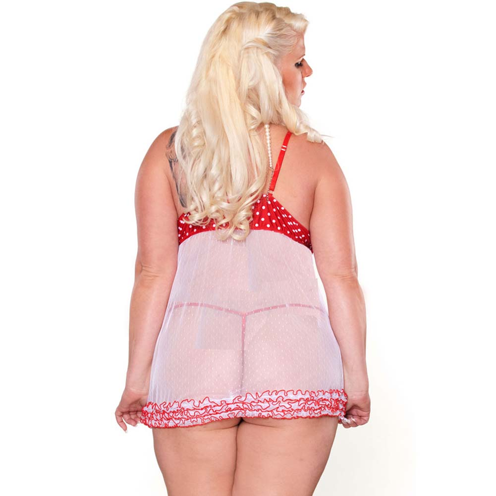 Perfect Pin Up Ruffled Babydoll and G-String Plus Size 2X - View #2