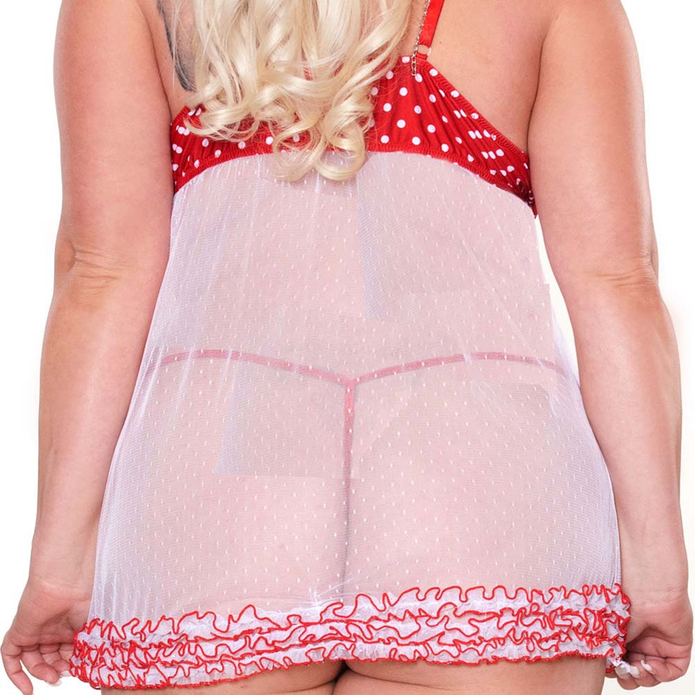 Perfect Pin Up Ruffled Babydoll and G-String Plus Size 2X - View #4