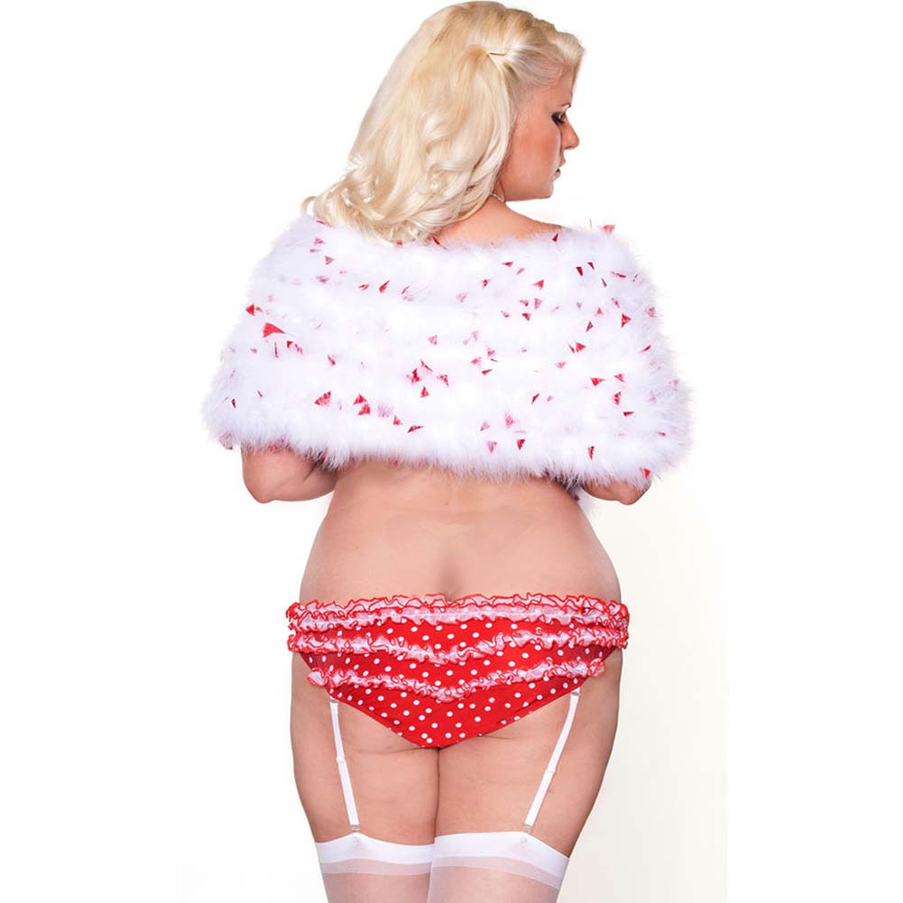 Perfect Pin Up Marabou Shrug and Gartered Panty Plus Size 3X White/Red - View #2