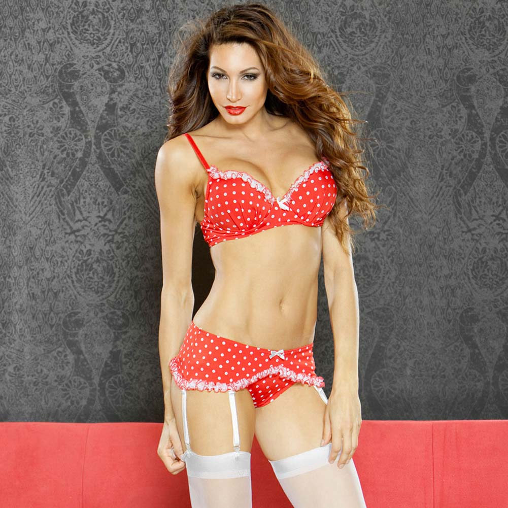 Perfect Pin Up Padded Bra with Garter Belt and Panty Large - View #1