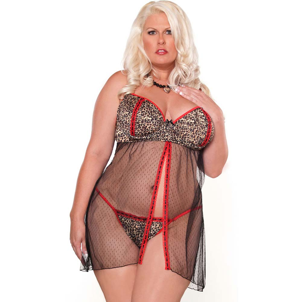 Purr Fect Babydoll and G-String Plus Size 2X Red/Black - View #1