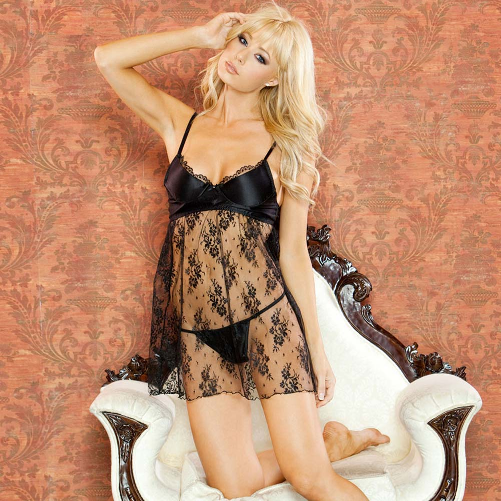 Temptress Lace Demi Cup Babydoll and G-String Medium Black - View #1
