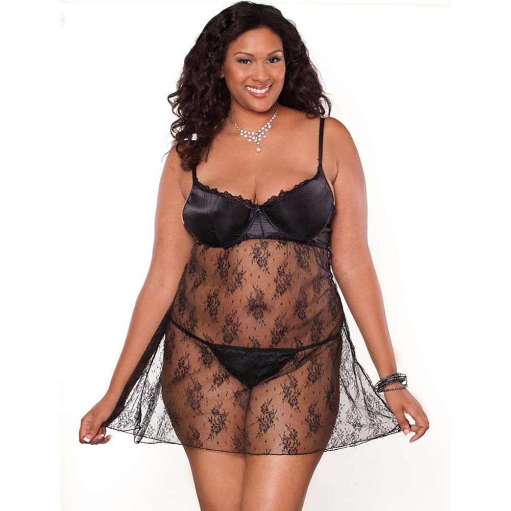 Temptress Lace Demi Cup Babydoll and G-String Plus Size 1X Black - View #1