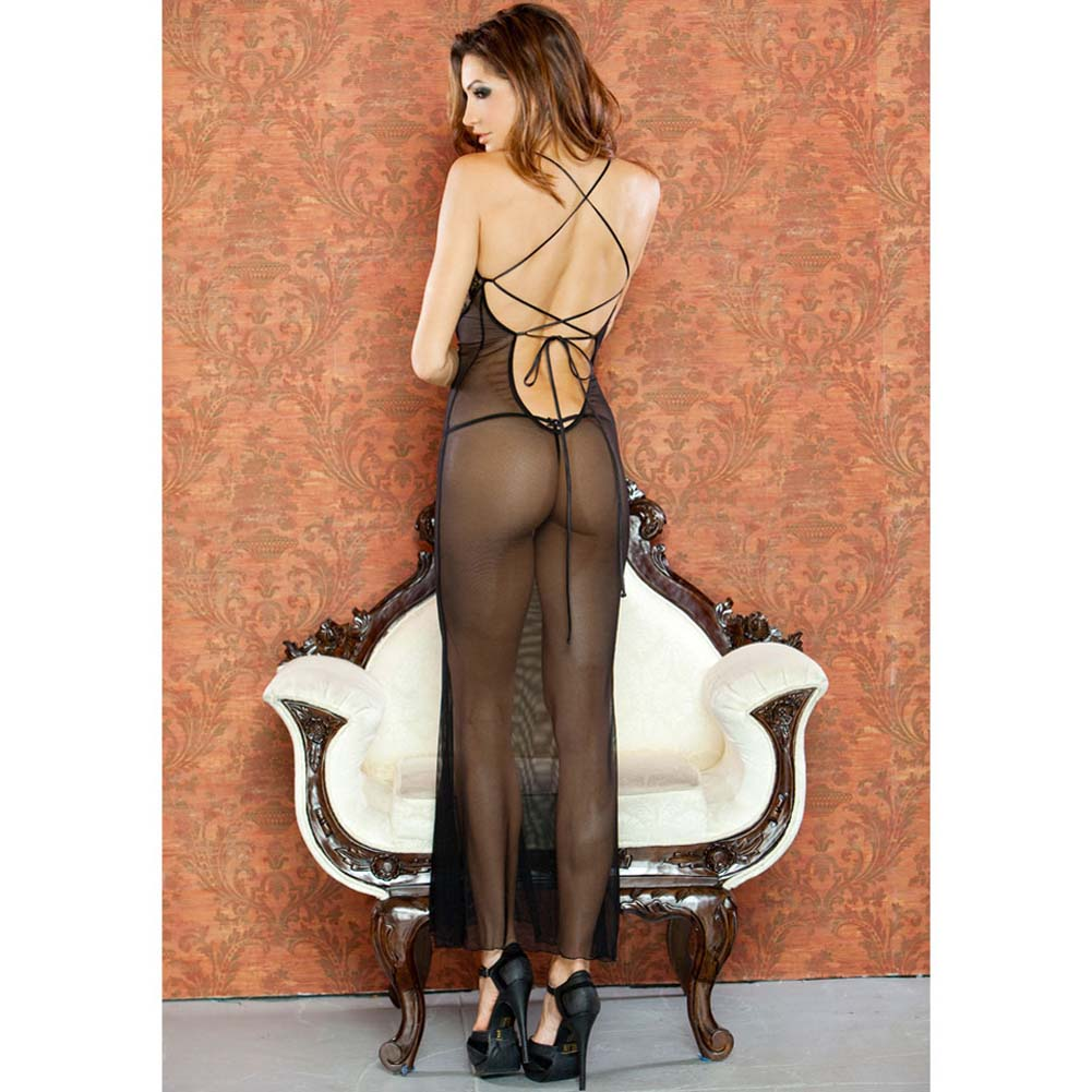 Temptress Sheer Gown with Lace Front and Tie Up Back Medium Black - View #2