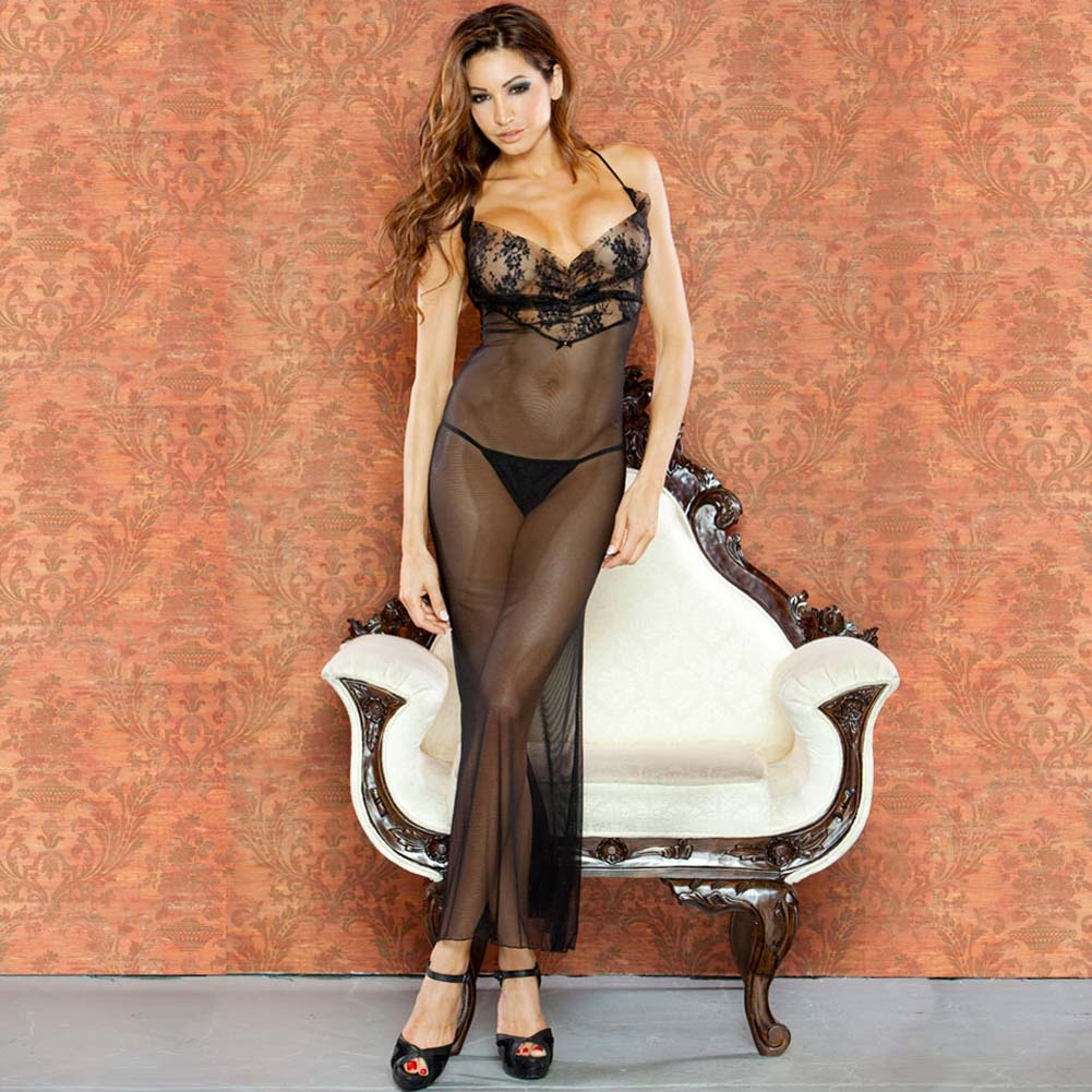 Temptress Sheer Gown with Lace Front and Tie Up Back Large Black - View #1
