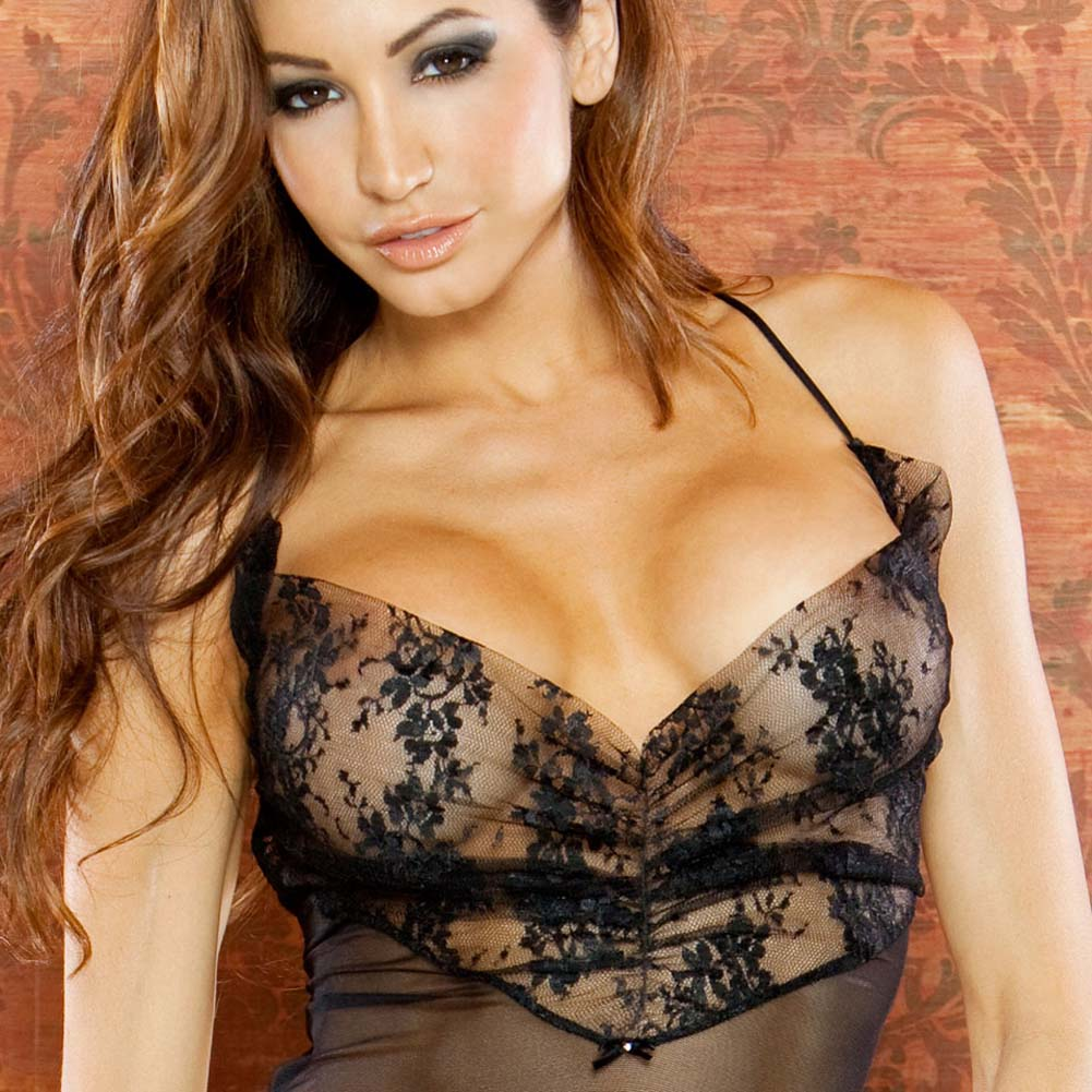 Temptress Sheer Gown with Lace Front and Tie Up Back Large Black - View #3