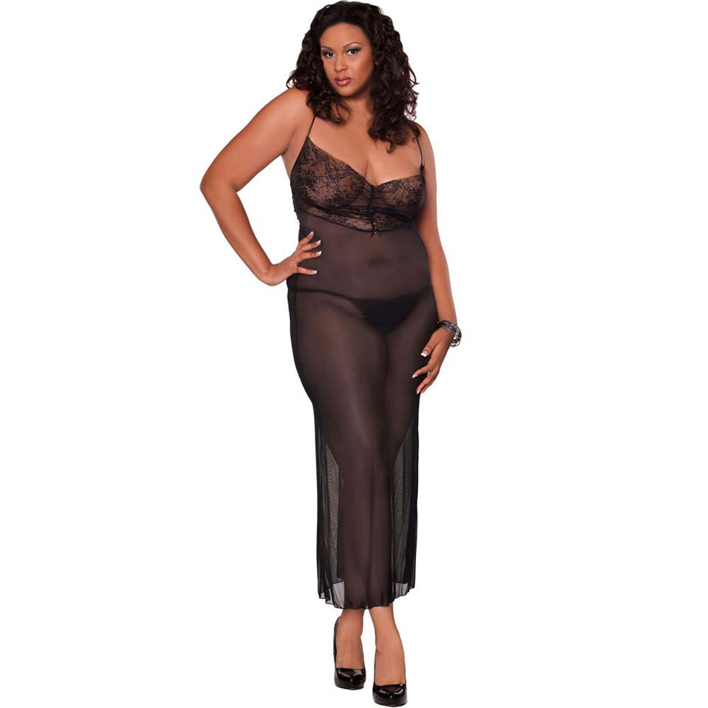 Temptress Sheer Gown with Lace Front and Tie Up Back Plus 2X Black - View #1