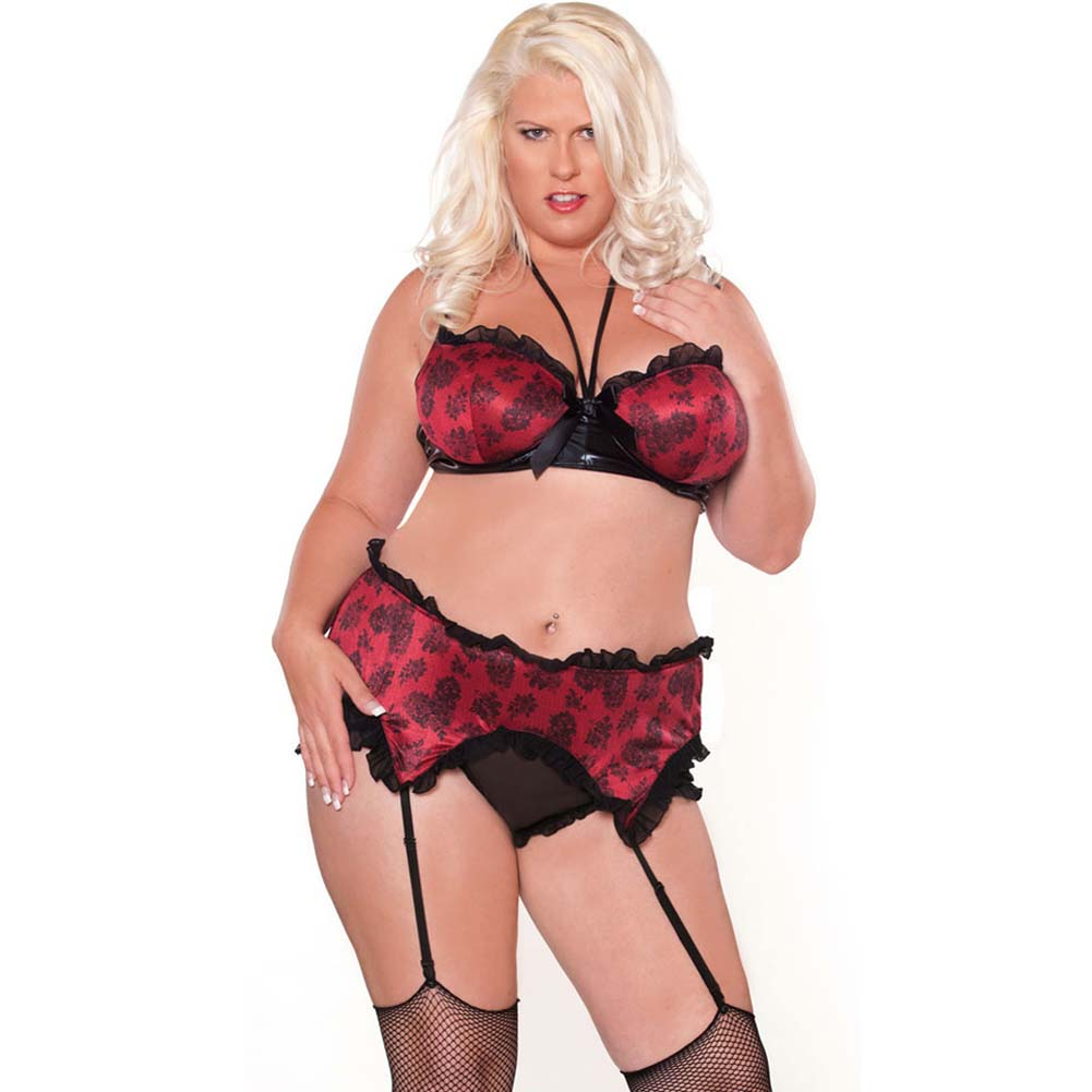Bedroom Bordello Garter Belt and Halter Bra with Panty Plus Size 3X - View #1