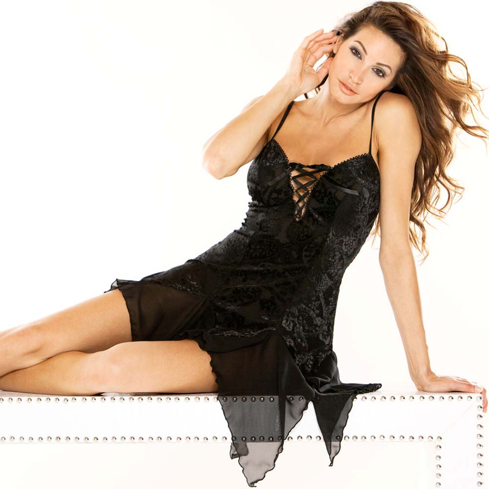 Burnout Velvet Chemise with G-String Plus Size 2X Black - View #3