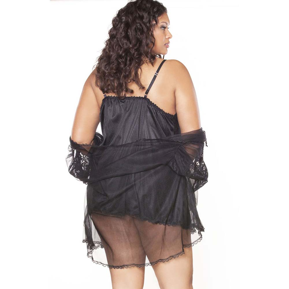 Fantasy Classics Short Peignoir Set Plus Size 3X Black - View #2