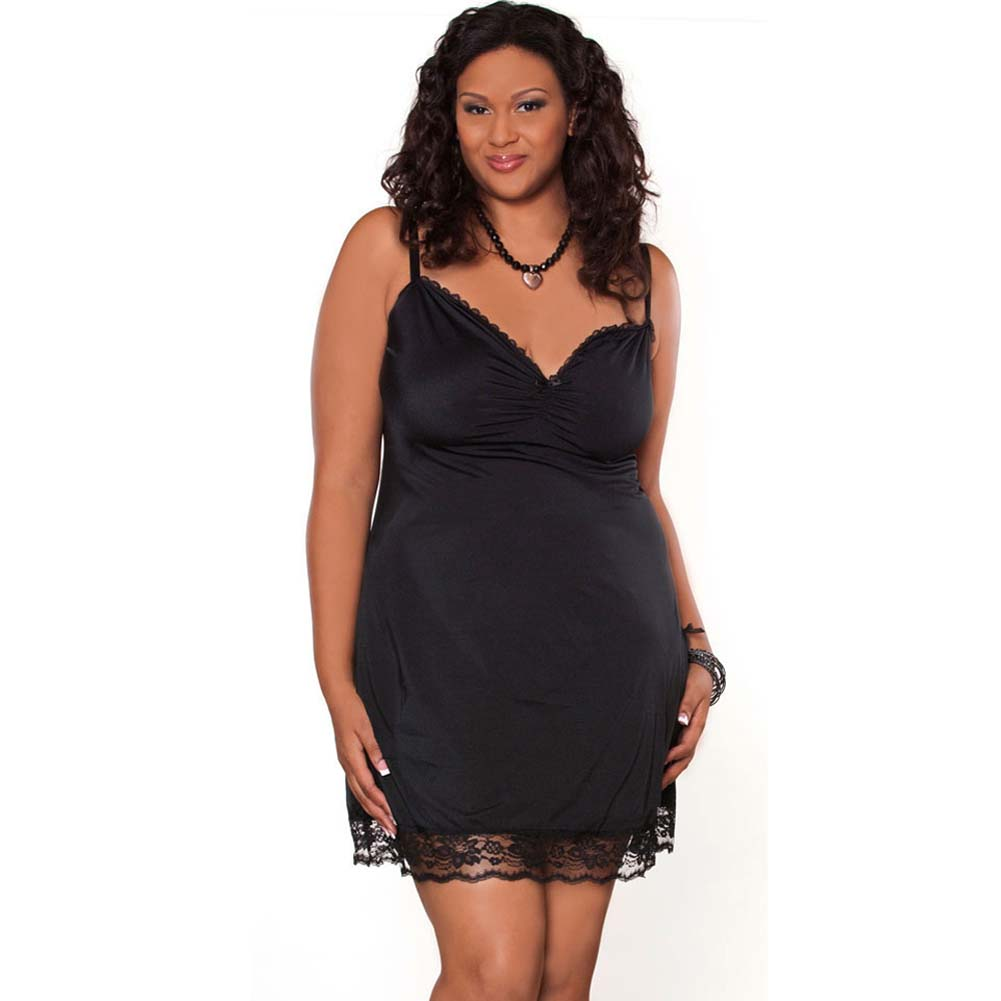 Barely There Sexy Slip with Side Slit Plus Size 1X Black - View #1