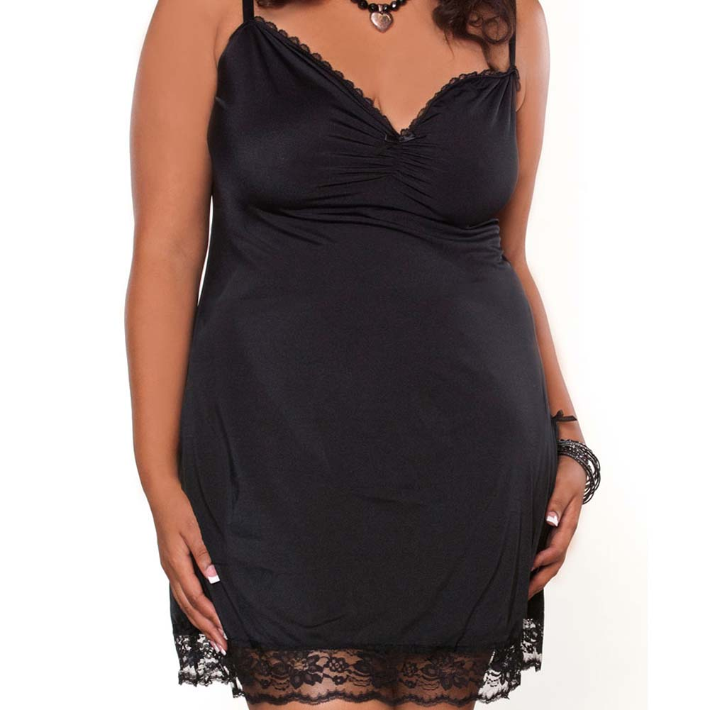 Barely There Sexy Slip with Side Slit Plus Size 3X Black - View #3