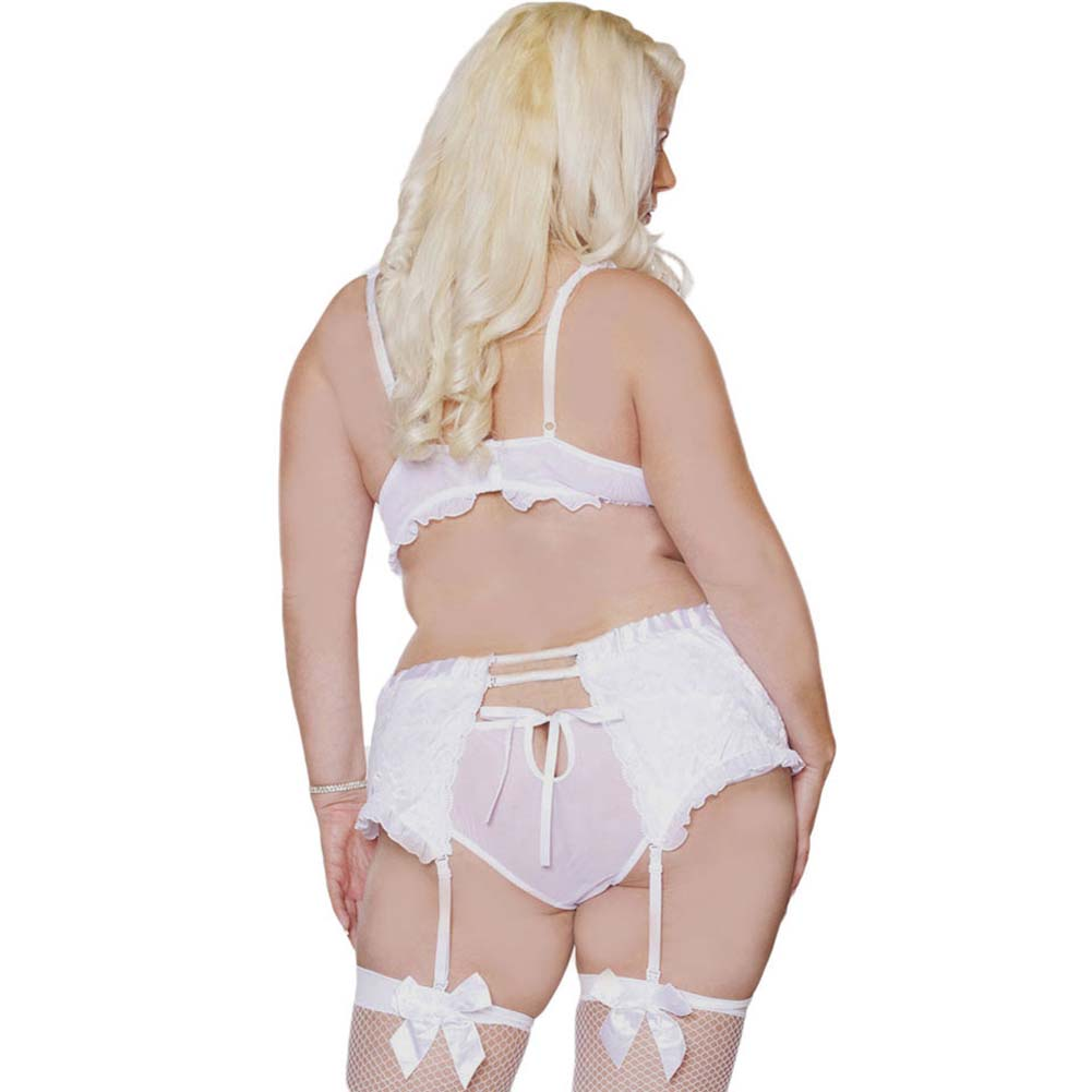 Something Blue Demi Bra and Garter Belt Set Plus Size 1X White - View #2