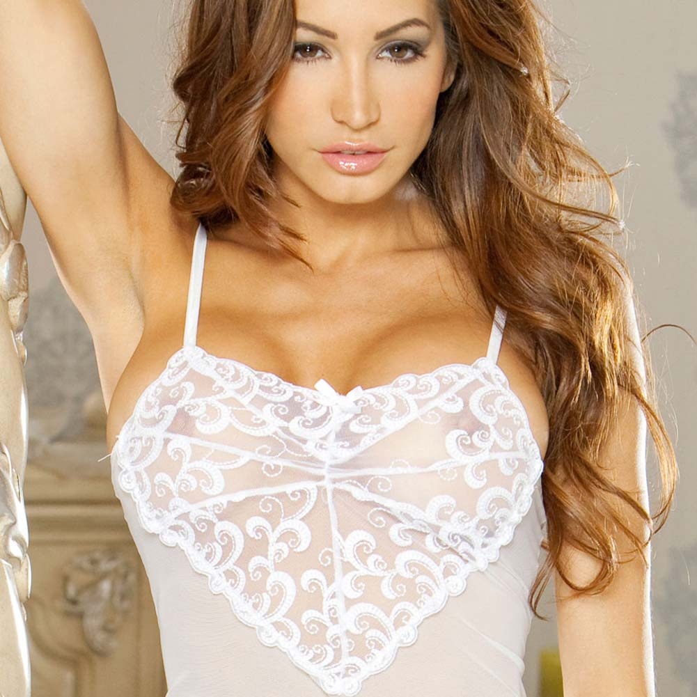 Honeymoon Sweet Embroidered Front Babydoll and Thong 1X - View #3