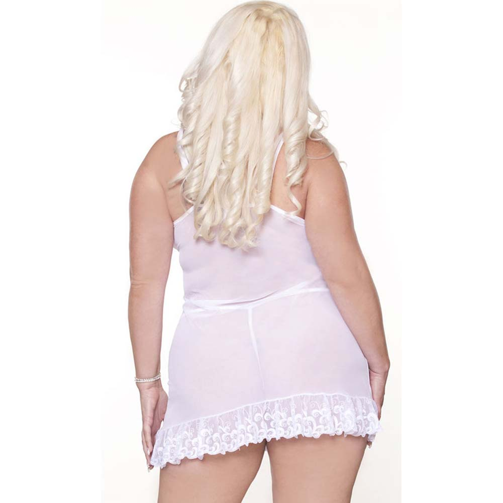 Honeymoon Sweet Embroidered Front Babydoll and Thong 2X - View #2