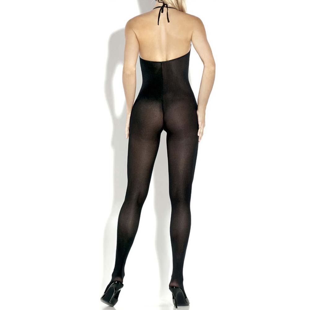 Desire Hosiery Opaque Halter Neck Split Front Bodystocking One Size Black - View #2