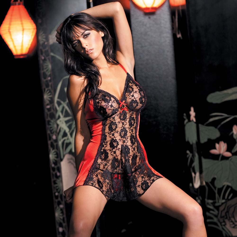 Lace Panel Babydoll with Matching G-String Plus Size - View #1