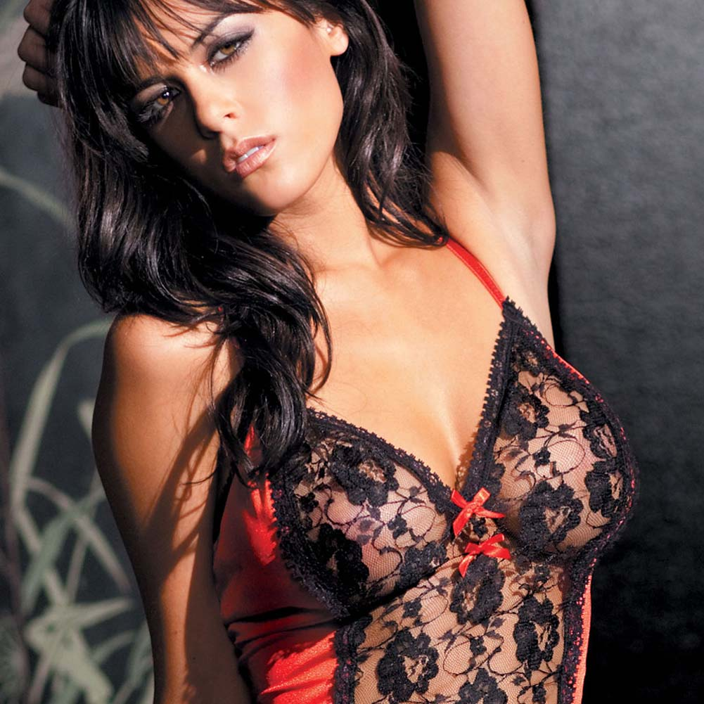 Lace Panel Babydoll with Matching G-String Plus Size - View #3