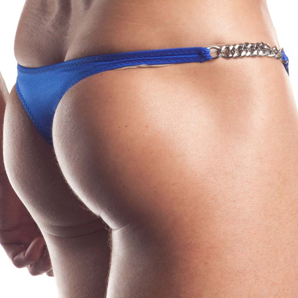 Extreme Series Chain Link Thong One Size Blue - View #4