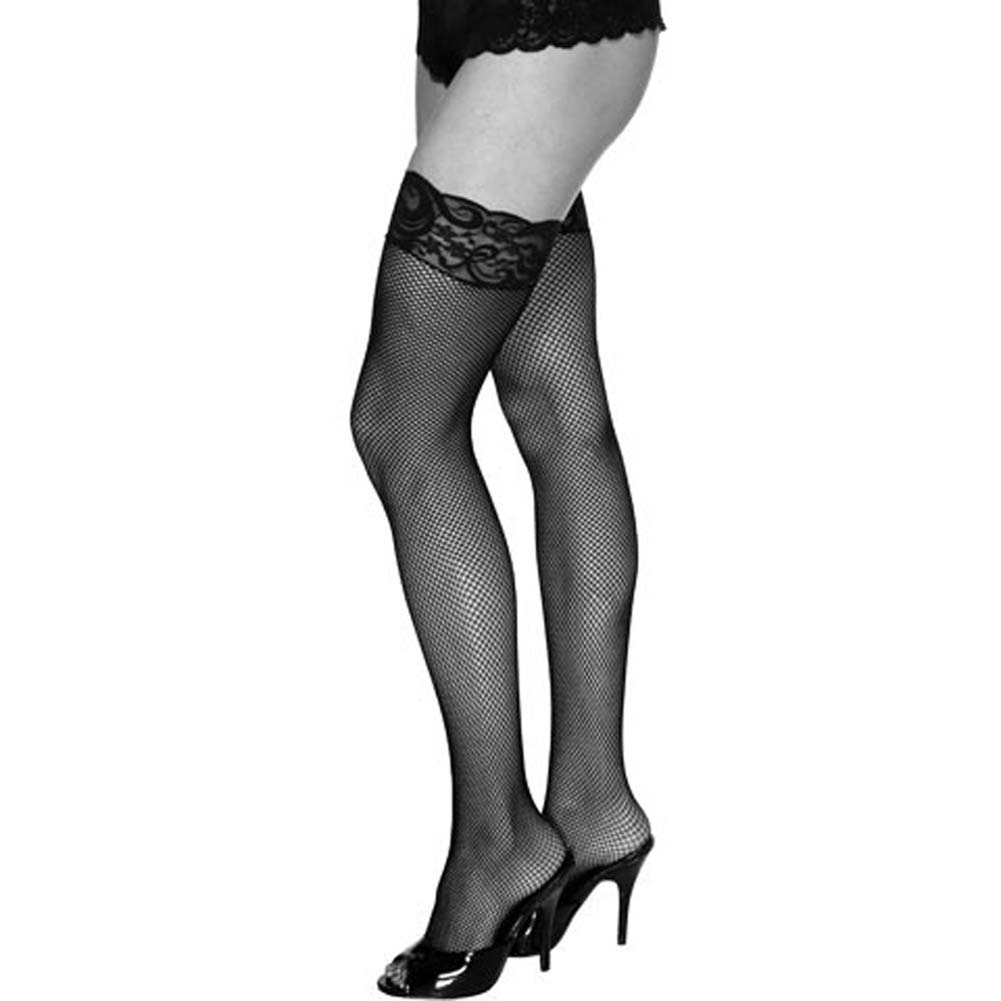 Luxe Thigh High Fishnet Stockings with Lace Top Black - View #1