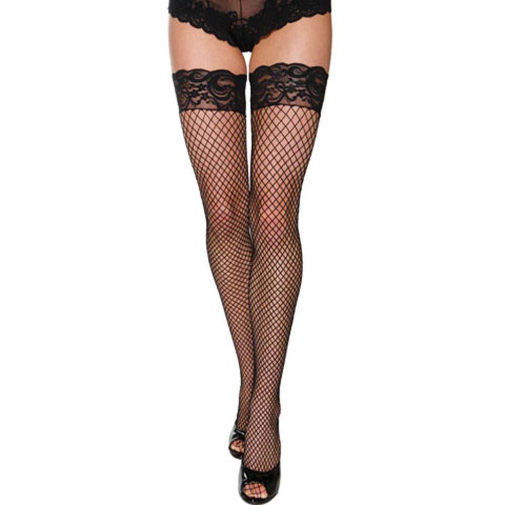 Industrial Fishnet Stockings with Silicone Lace Top Black - View #1