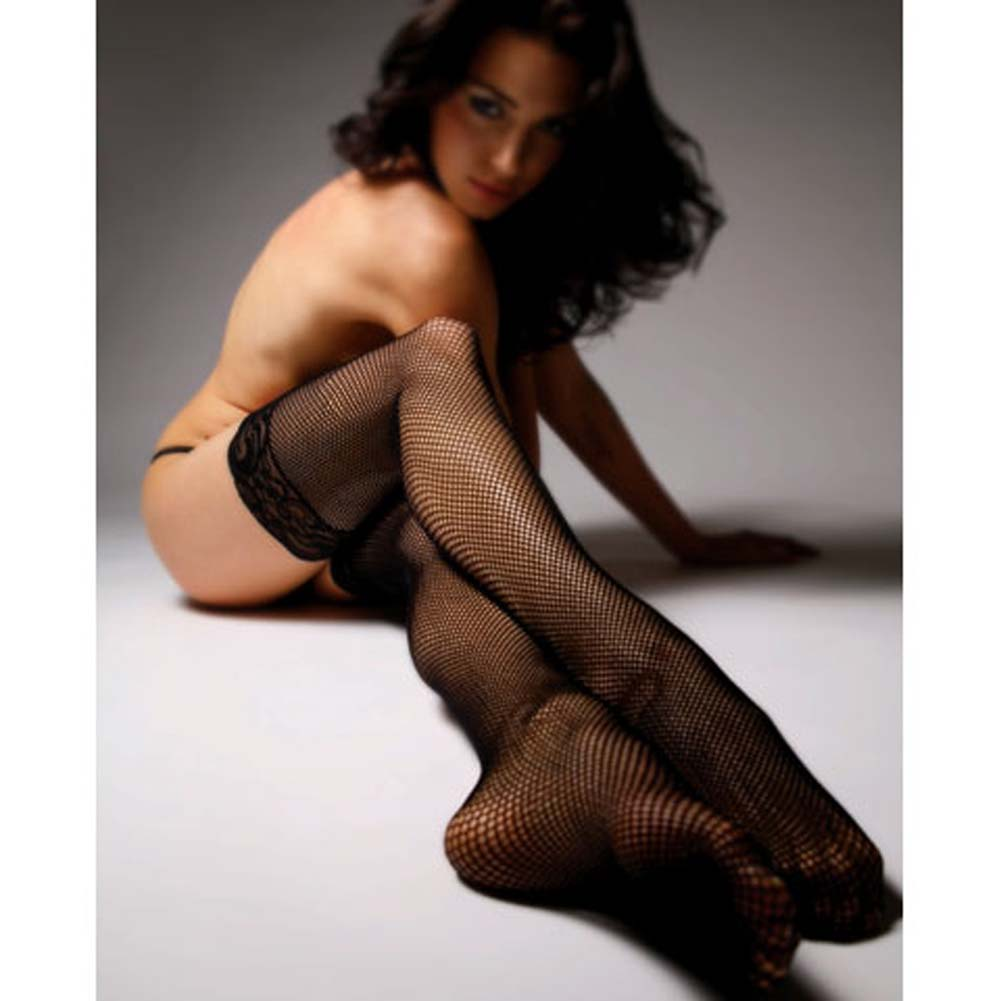 Industrial Fishnet Stockings with Silicone Lace Top Black - View #3