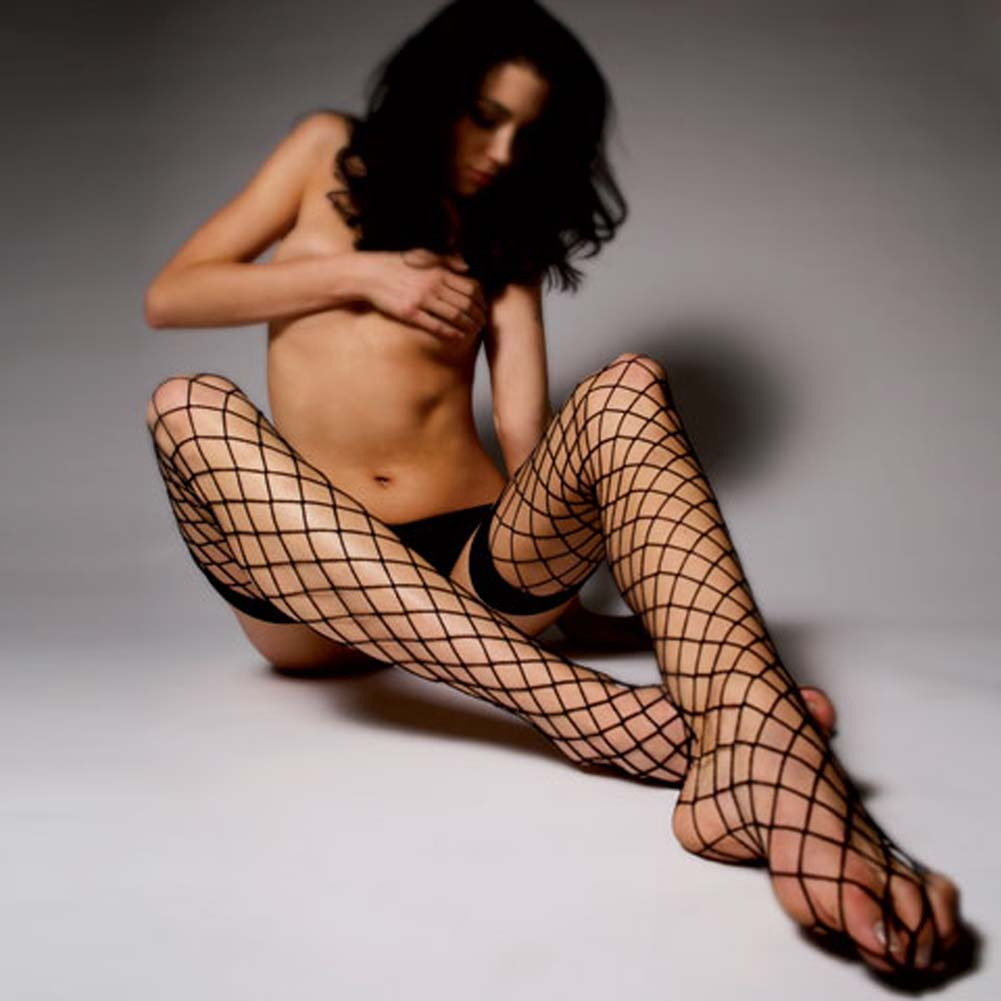 Fence Net Thigh Highs with Thick Top Bands Black - View #2