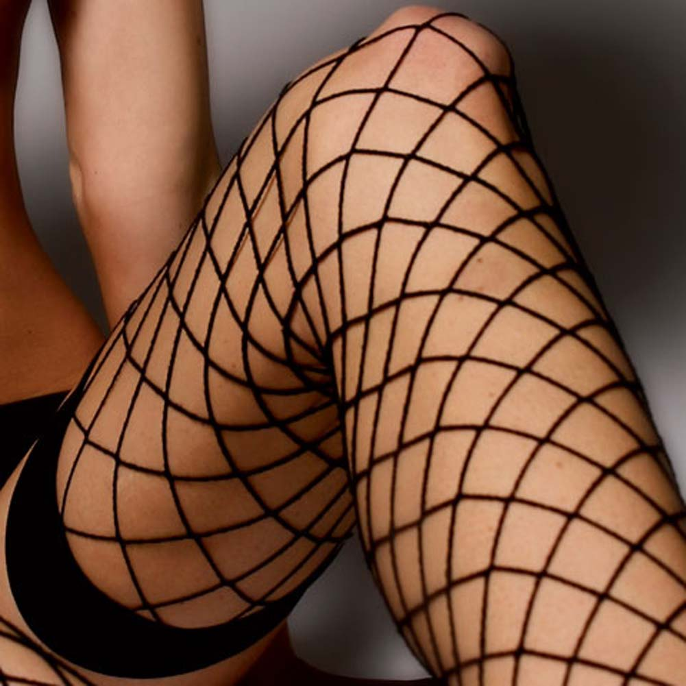 Fence Net Thigh Highs with Thick Top Bands Black - View #4