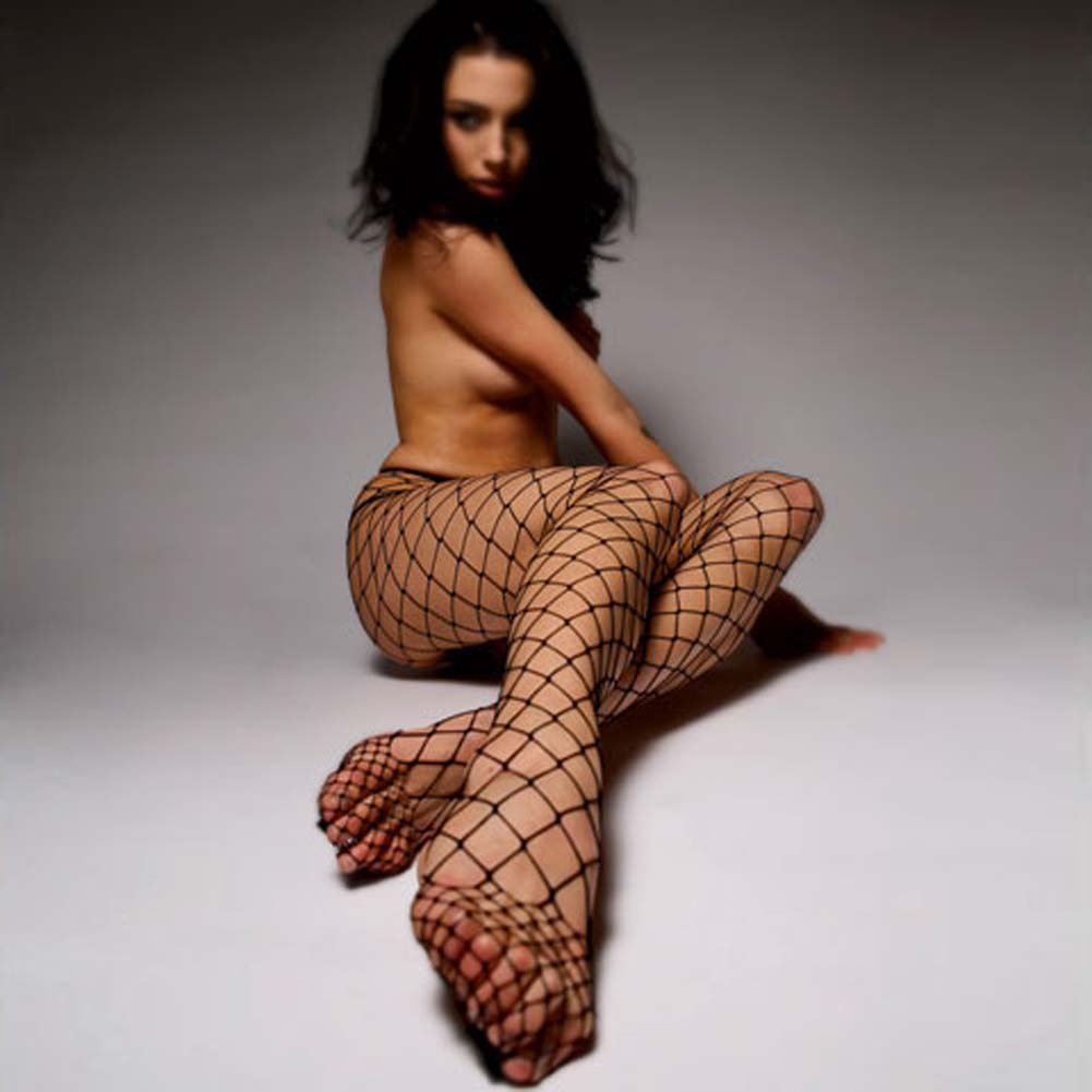 Fashionable Fence Net Pantyhose Black - View #3