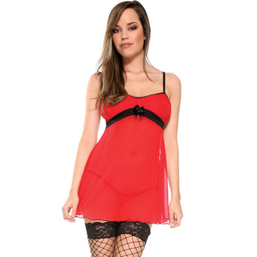 Forplay Holiday Sweetie Babydoll and Panty Set One Size Romantic Red - View #1
