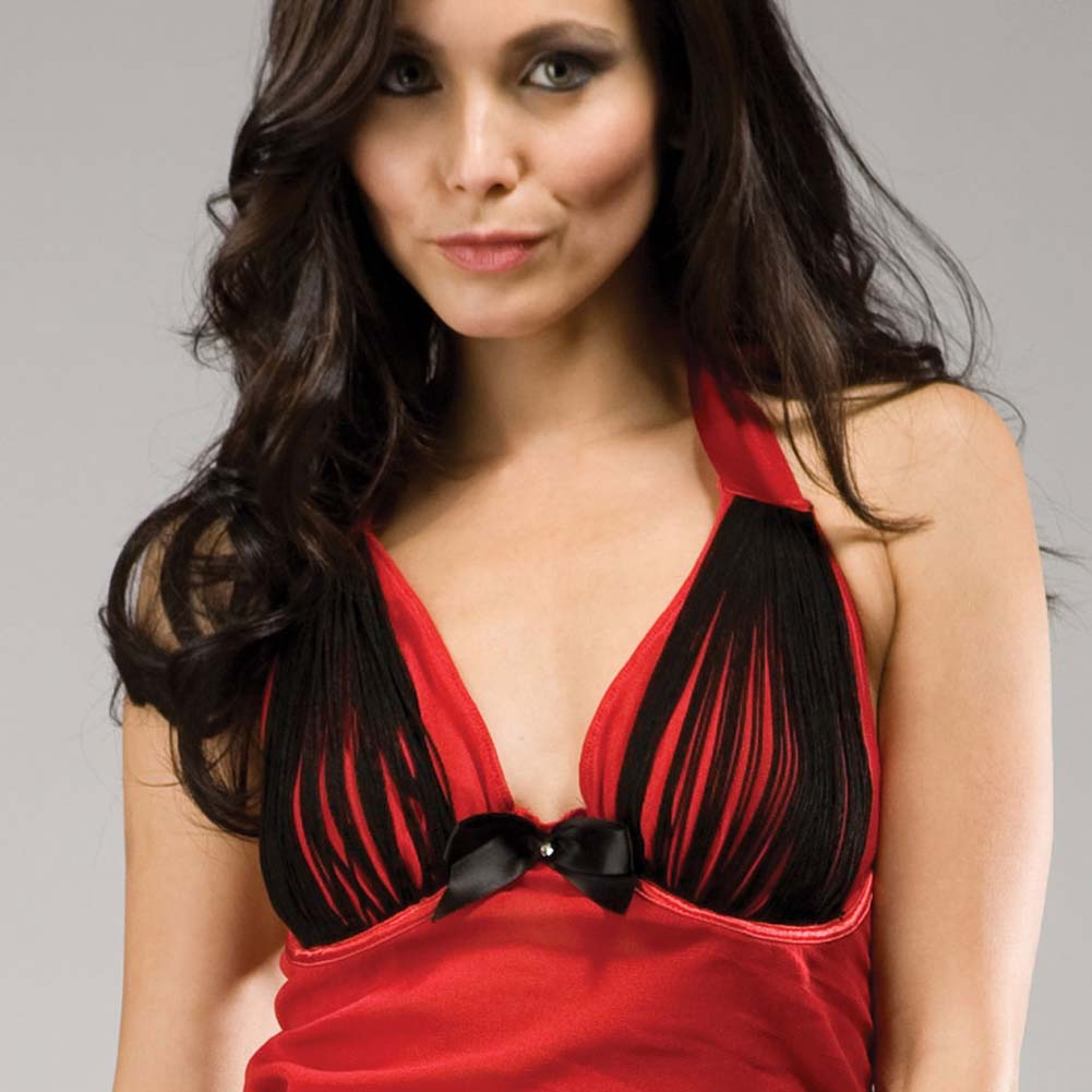 Forplay Spectacular Lola Fringed Halter Chemise Lingerie Set One Size Romantic Red - View #3