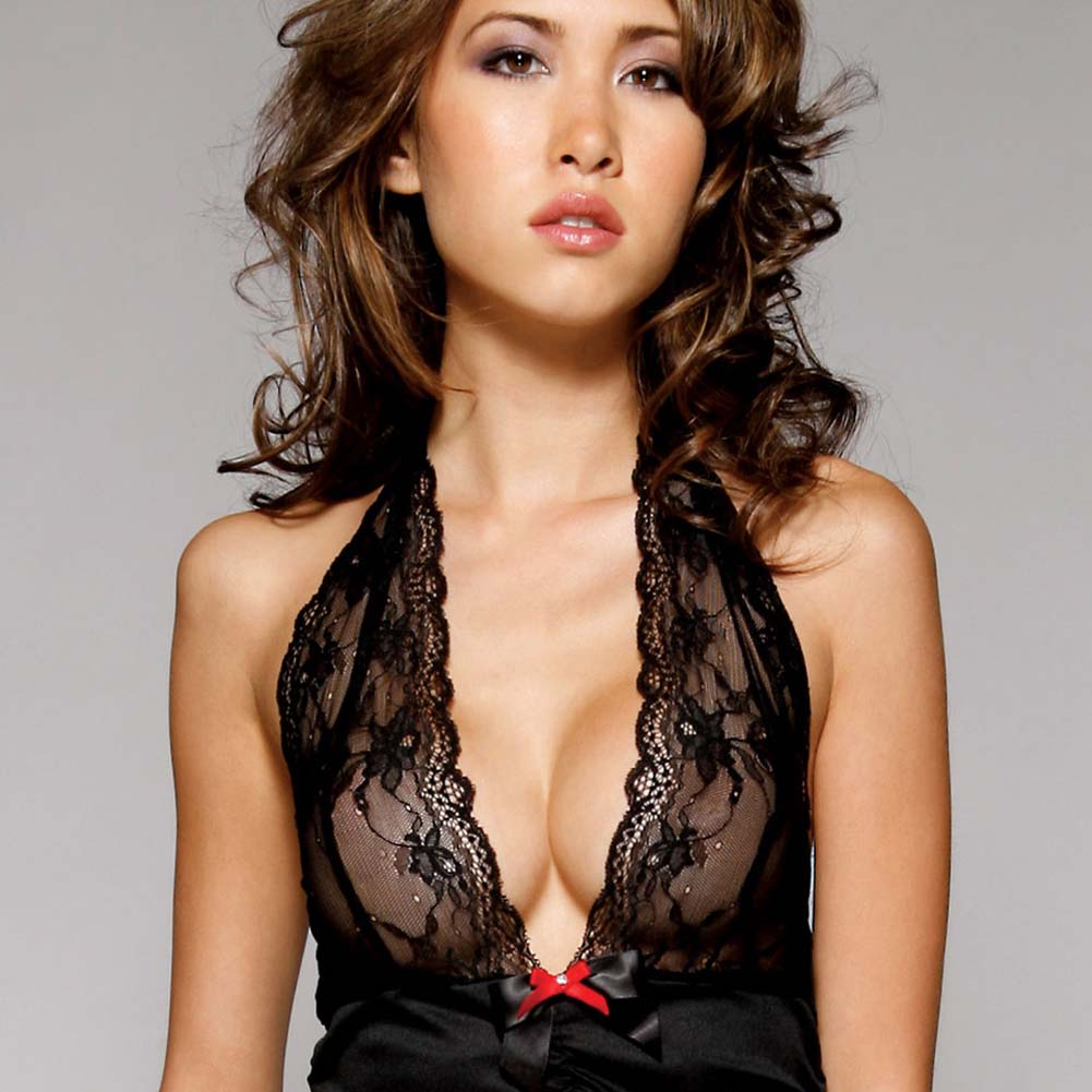 Black Widow Lace Halter Dress with Garters and Panty Set One Size Black - View #3