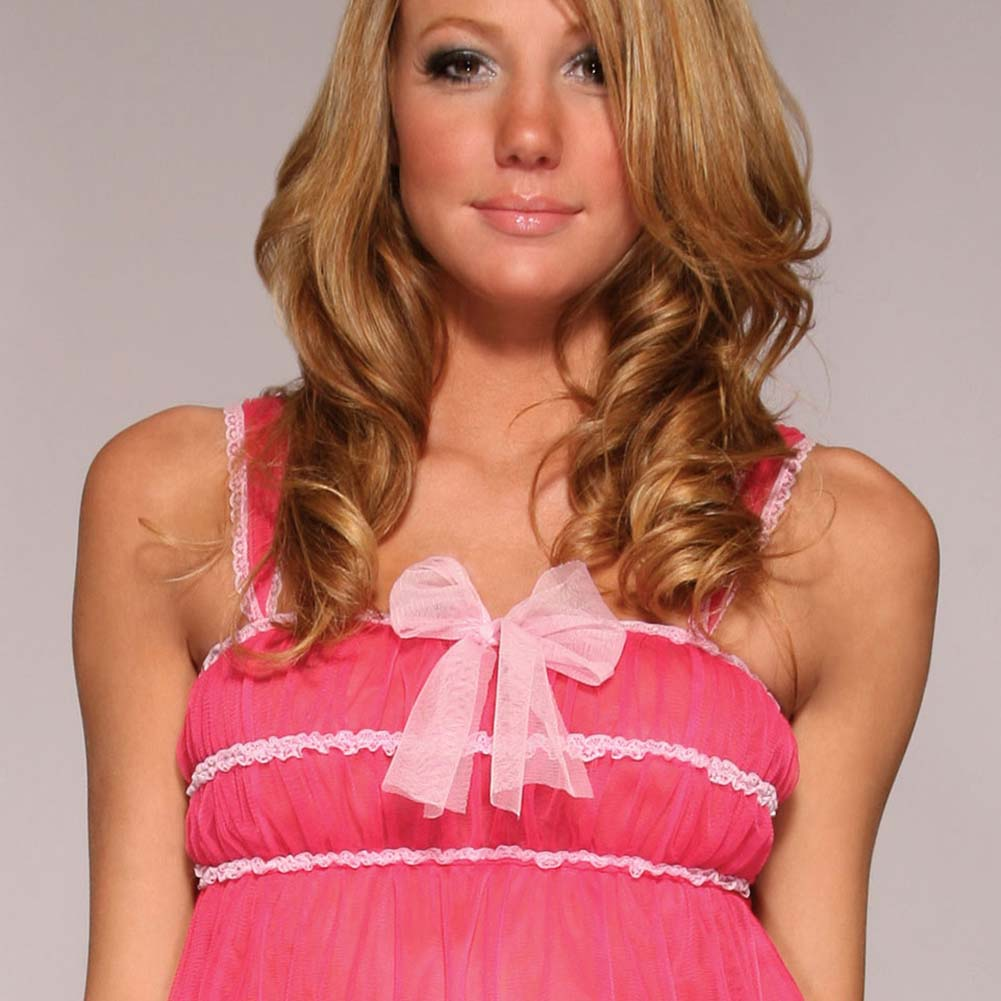 Forplay Shag Babydoll Lingerie and Panty Set One Size Hot Pink - View #4