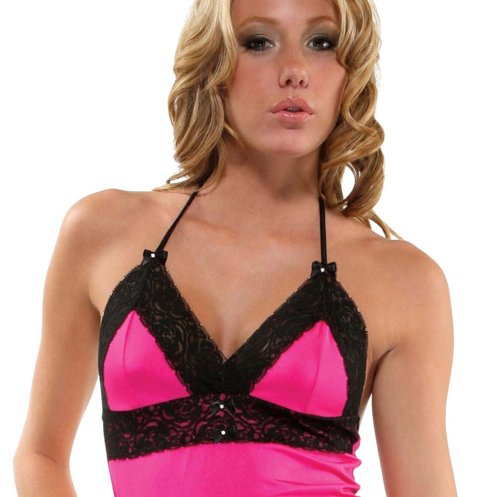 Blooming Lacey Edged Slip Dress and Panty Fuchsia - View #3