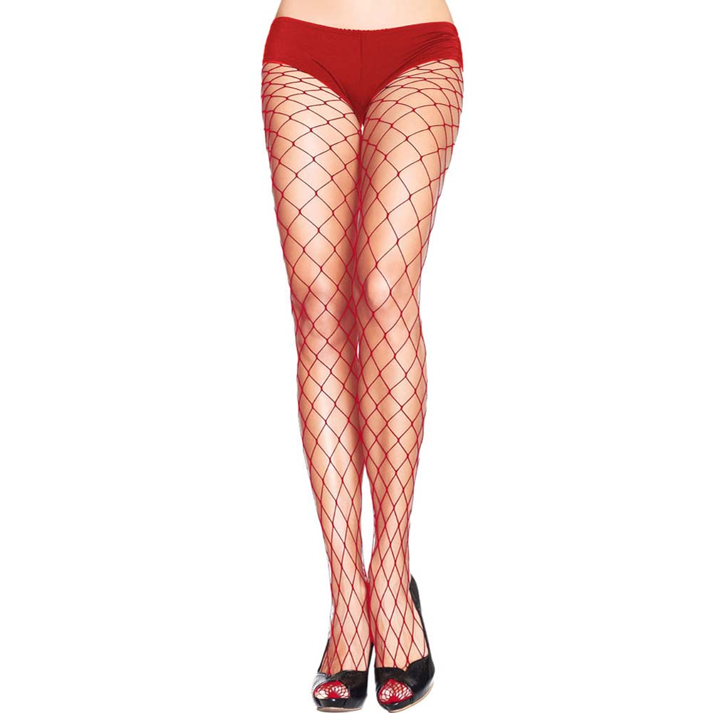 Forplay Fashionable Fence Net Pantyhose One Size Romantic Red - View #1