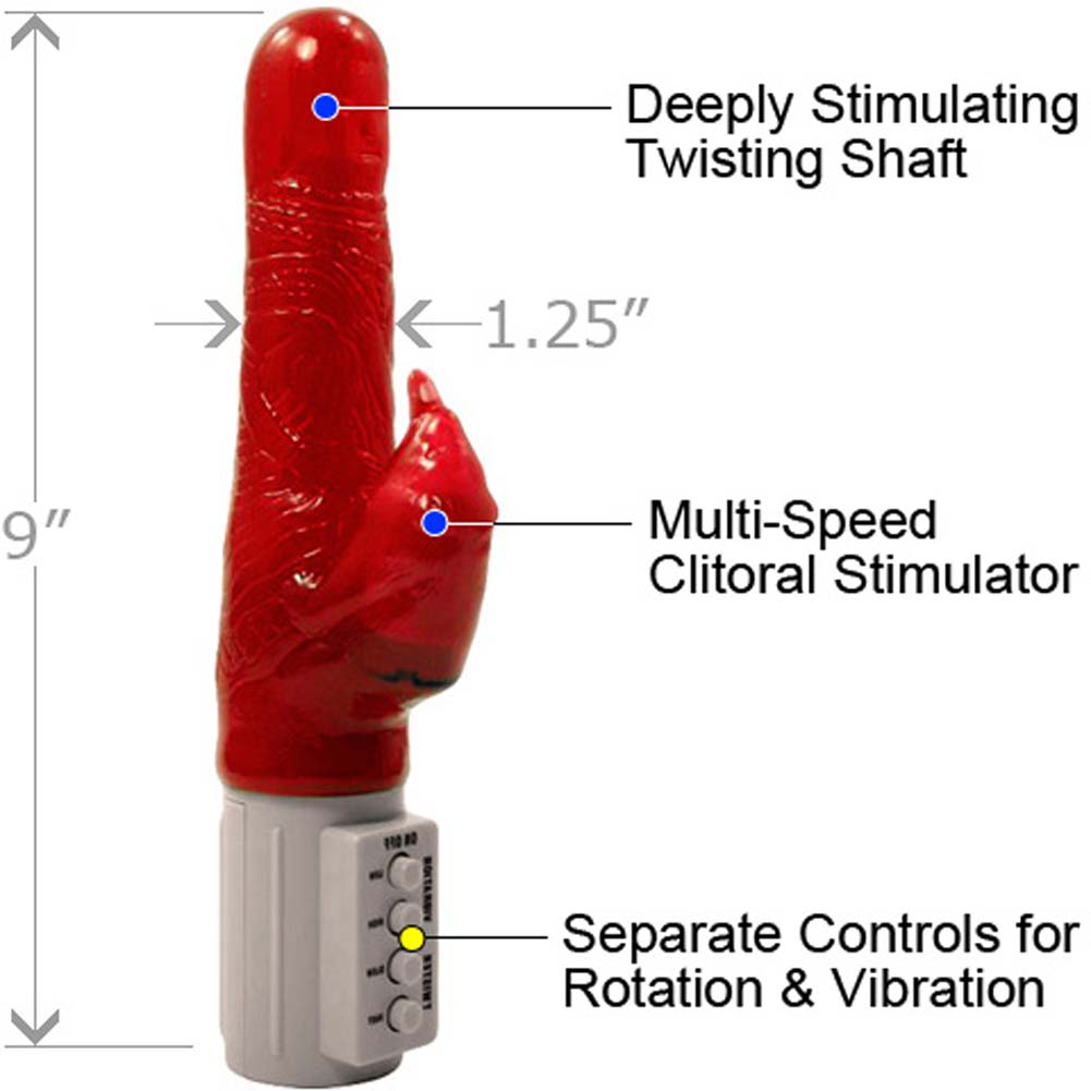 "Osaki Twister Beaver Personal Jelly Vibrator 9"" Red - View #1"