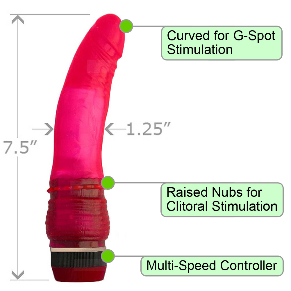 "Flexible Realistic Intimate Vibrator with Clit Nubs 7"" Pink - View #1"