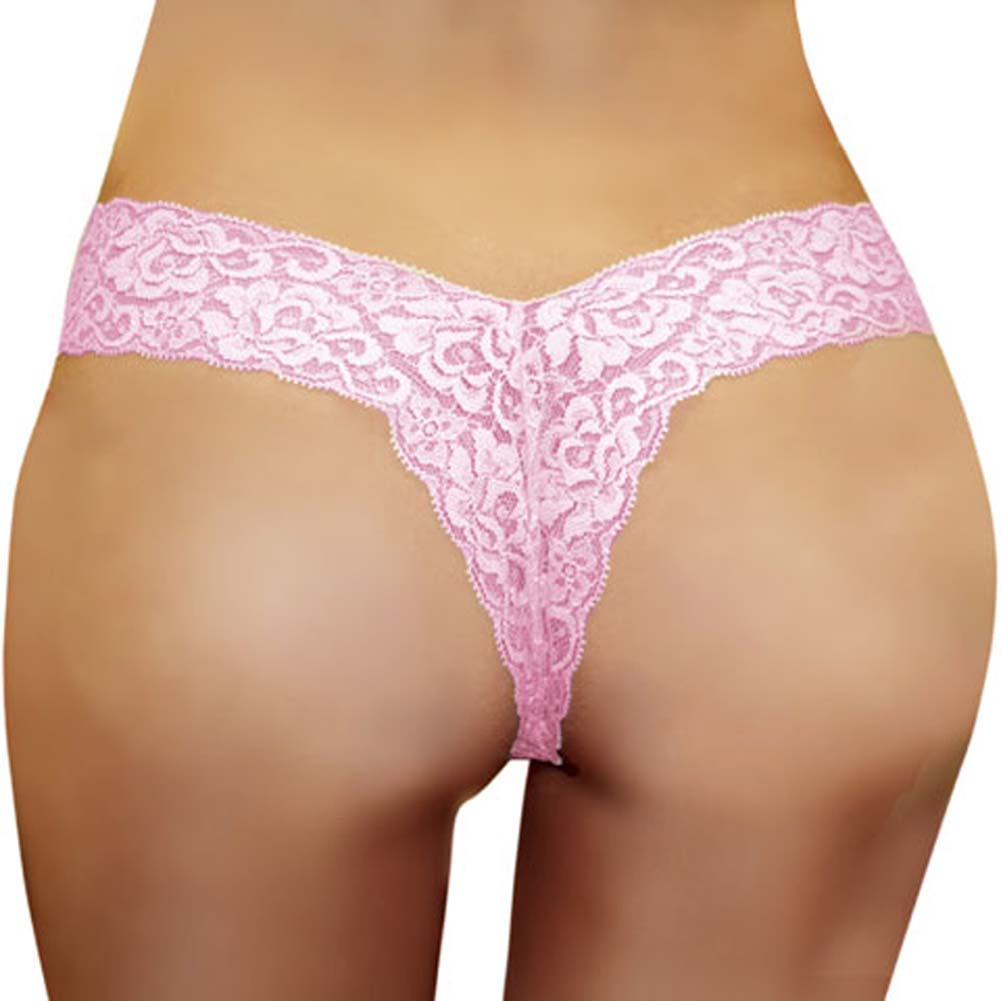 Super Low Rise Lace V Thong Baby Pink Size Medium - View #1