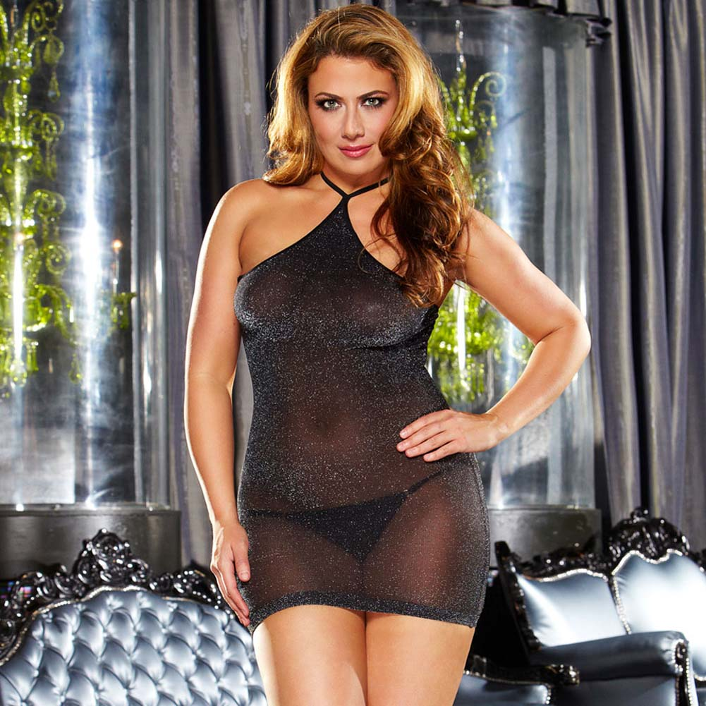 Lapdance Lingerie VIP Shimmering Mini Dress Plus Size Black Metallic - View #1