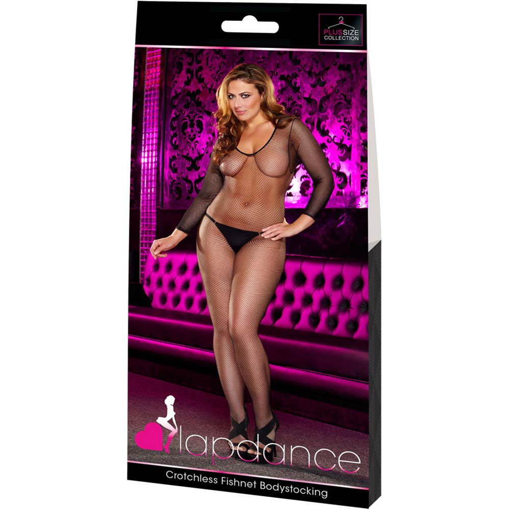 Lapdance Lingerie Crotchless Fishnet Bodystocking Plus Size Black - View #4