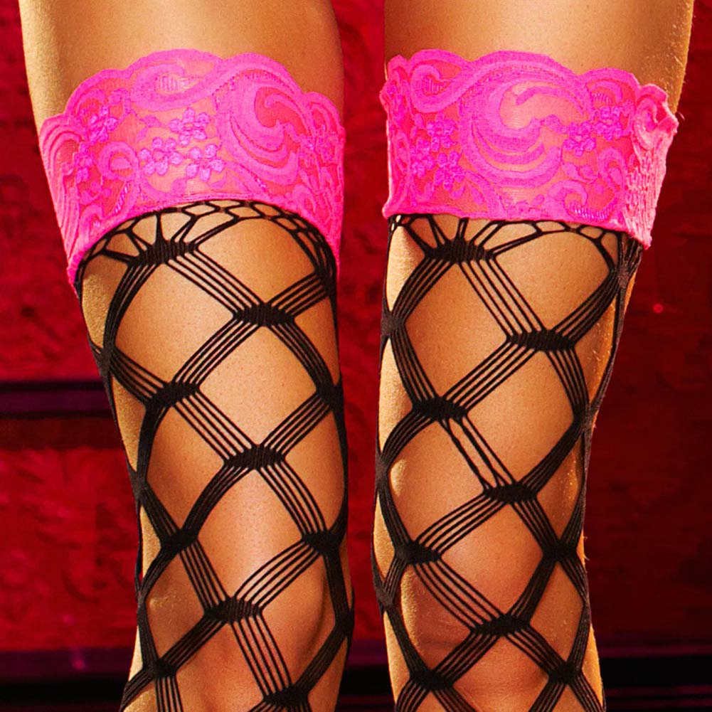 Lapdance Lingerie Lace Top Thigh High Stockings One Size Black - View #3