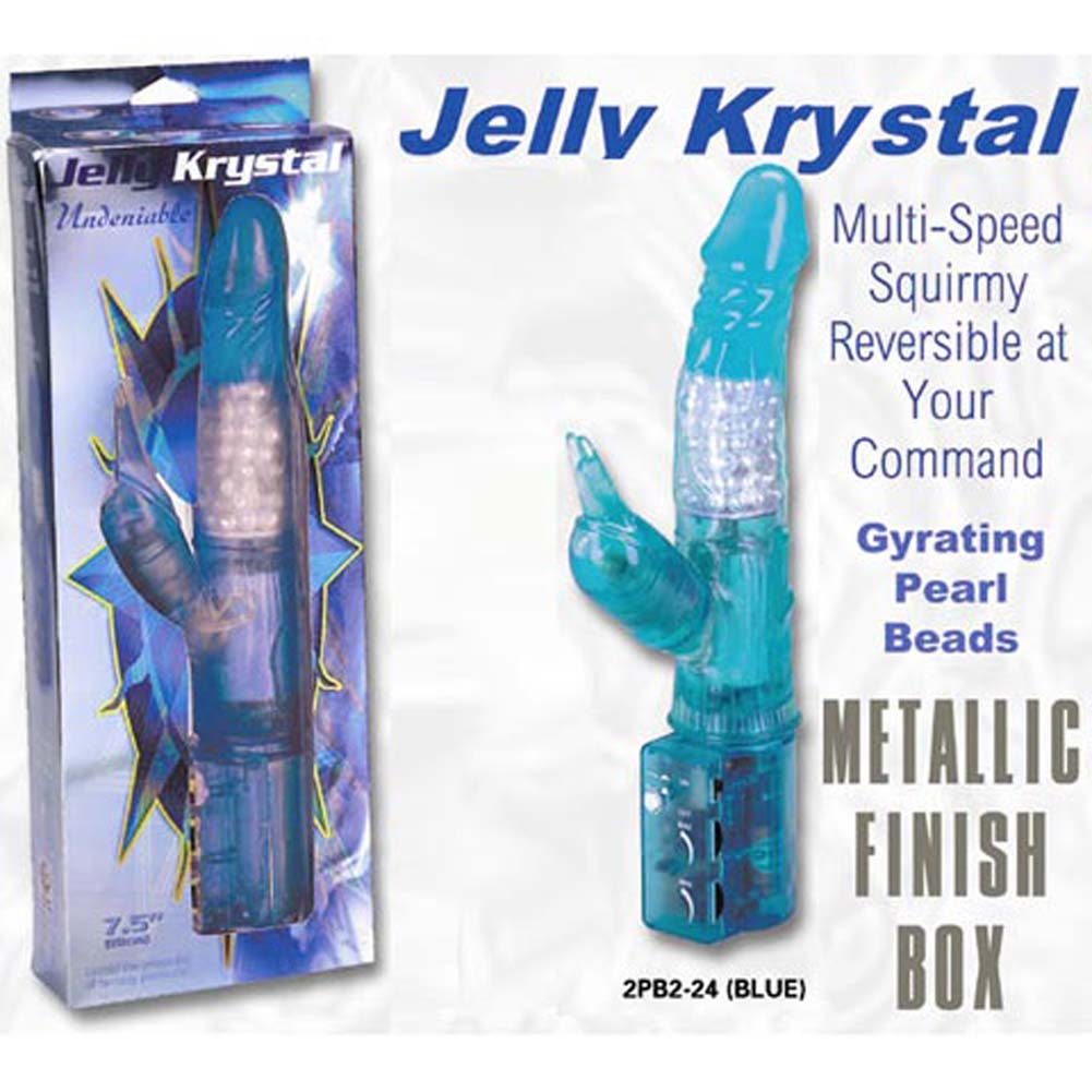 Jelly Krystal Undeniable Vibrator Blue 9.5 In. - View #3