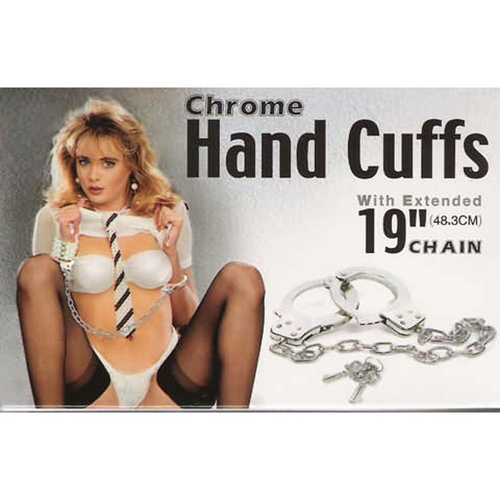 "Chrome Hand Cuffs with Extended Chain 19"" - View #1"