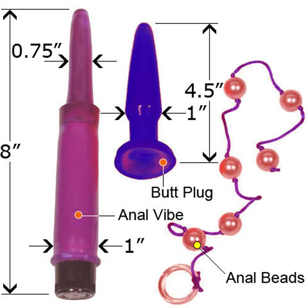 Anal Trainer Kit with Vibe Butt Plug Beads and Free XXX DVD - View #3